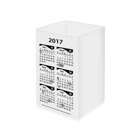 Cubo portalápiz con calendario